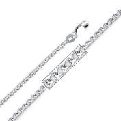 Precious Stars SEC0191160 White Gold 1.3 mm. Flat Wheat Chain 16 in. Necklace