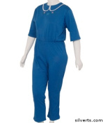 Silverts 233301404 Womens Adaptive Alzheimers Clothing Anti-Strip Suit Jumpsuit - Large Cobalt