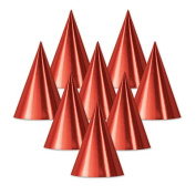 Beistle 66002-R Foil Cone Hat Red - Pack Of 48
