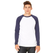 Bella-Canvas C3000 Mens Jersey Long Sleeve Baseball Tee - White & Navy 2X