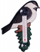 Songbird Essentials Chickadee on Branch Large Window Thermometer