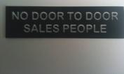 NO DOOR TO DOOR SALES PEOPLE ENGRAVED ACRYLIC SIGN 130X35MM BUSINESS HOME LETTER BOX