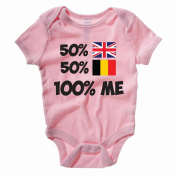 50% BRITISH 50% BELGIUM 100% ME - Britain / Novelty Themed Baby Grow / Vest