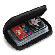 King of Flash Black Small Zip Up 18 x SD / SDHC & 4x CF Compact Flash Memory Card Holder Protector Pouch Bag Case