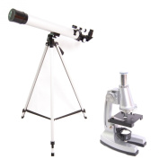 DynaSun TWMP0406 Telescope and Microscope Mag:900x Advanced Science Student Set Educational Discovery School with Tripod and many Accessories