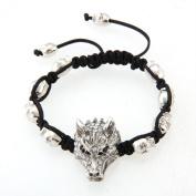 FACILLA® Wolf Head Tibet Silver Rhinestone Adjustable Bracelet 3.3cm x 2cm [Jewellery]