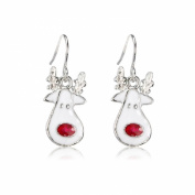 Christmas Costume Jewellery Rudolph Red Nose Reindeer Christmas 925 Sterling Silver Earrings + gift bag UK Seller