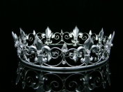 Venus Jewellery Women's Men's Full King's Crown for Theather Prom Party - Clear Crystals Silver Plating T373