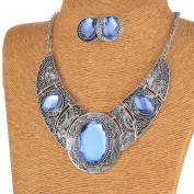 Acrylic Royal Blue Black Tibet Silver Hollow Out Necklace Earrings Jewellery Set