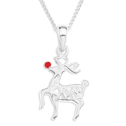 Ornami Sterling Silver and Red Enamel Reindeer Pendant on Chain of 46cm