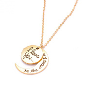 Family Gift Silver Gold Heart Necklace Pendant I Love You To The Moon & Back