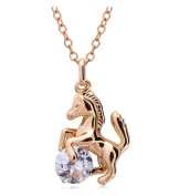 Celebrity Jewellery Gold Plated Horse Pendant With Small. Elements Crystal Necklace for Women