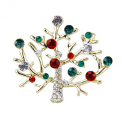 Tree Shape Rhinestone Brooch Pin Gift Unisex Colourful