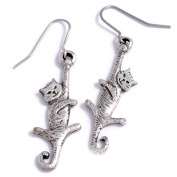 St Justin, Pewter Dangling Cat Drop Earrings