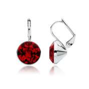 MYJS Bella Rhodium Plated Mini Drop Earrings with Ruby Red. Crystals