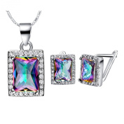 Layla Jewellery 18k White Gold Plated Alloy Colourful Gemstone Jewellery Set include Pendant Necklace and Stud Earrings for Ladies