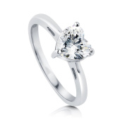 BERRICLE Sterling Silver 1.13 ct.tw Cubic Zirconia CZ Solitaire Heart Engagement Wedding Bridal Ring