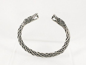 Small Viking Dragon Head Solid Pewter Bracelet