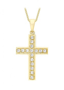 Carissima Gold 9 ct Yellow Gold Cross Pendant on Adjustable Curb Chain Necklace of 40-46 cm/16-18 Inches