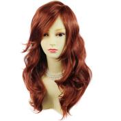 Wonderful wavy Long Copper red Curly Heat Resistant Ladies Wigs Hair UK