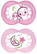 MAM 707722 Night Silicone Dummies Pack of 2 for Girls Age from 16 Months Assorted Colours BPA Free