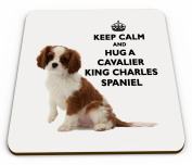 Keep Calm And Hug A Cavalier King Charles Spaniel Novelty Glossy Mug Coaster