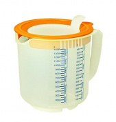 Leifheit 03168 1.4 Litre 3-in-1 Mixing and Measuring Jug, Transparent and Red/ Yellow