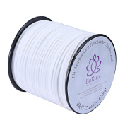 BRCbeads Micro-Fibre Flat Leather Lace Beading Thread Faux Suede Cord String Velet 100 Yard Roll Spool 3mm White Colour with Acrylic Jar