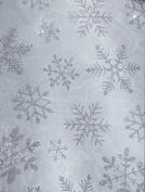 White Organza Glitter Snowflake Fabric