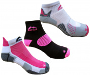 More Mile Womens 3 Pair Pack Cushioned Running Socks, London, Miami & San Diego