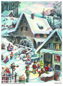 Advent Calendar 24 doors 297 x 210 mm - Snow Scene Traditional Village - with glitter and translucent windows - RS804 - traditional antique German Design