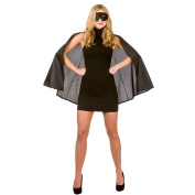 (O) Ladies Super Hero Cape & Mask Outfit Accessory for Superhero Fancy Dress Womens One Size Black