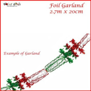 Christmas Red and Green Foil Hanging Garland Decoration 2.7m