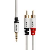 GearIt 3.5mm Male to 2 RCA Male Adapter Stereo Audio Cable (25 Feet / 7.5 Metres) - Gold Plated - Step Down Design for iPhone, iPod, Smartphone, Tablet and MP3 Cases, White