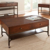 Steve Silver Hayden Rectangle Light Espresso Wood Coffee Table with Casters