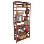 Flip Flop 6-Shelf Folding Bookcase, Cherry