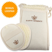 Earth Essence Exfoliating Back Scrubber for Shower - #1 Exfoliating Scrubber Eliminates Acne & Cleanses Without Back Strain - Back Scrubber for Men & Women - Shower Scrubber with Premium Loofah Pad