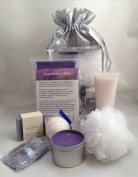 Lavender Spa Gift Set-Lavender Eye Pillow, Soy Candle, Bath Bomb, Artisan Soap, Bath Salts, Lotion, Pouffe Sponge