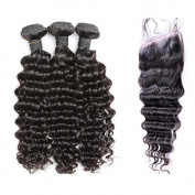 Freyja Hair 6A Unprocessed Brazilian Virgin Remy Hair with Closure Deep Wave Human Hair 3 Bundles with Closure Brazilian Deep Wave with Lace Closure By DHL Shipping
