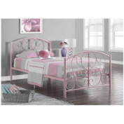 Monarch Specialties PINK METAL TWIN SIZE BED FRAME ONLY - I 2390P