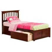 Atlantic Furniture Mission Twin XL Flat Panel Foot Board w/ 2 Urban Bed Drawers Antique Walnut - AR8712114