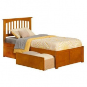 Atlantic Furniture Mission Twin XL Flat Panel Foot Boad w/ 2 Urban Bed Drawers Caramel Latte - AR8712117