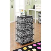 Altra 4-Bin Storage End Table, Black/Zebra
