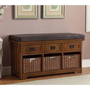 Transitional 3-Basket/3-Drawer Bench, Medium Brown