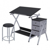 Studio Designs Comet Centre with Stool - Silver/Black 13325