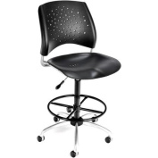 OFM Star Plastic Swivel Chair with Drafting Kit, Black