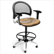 OFM Swivel Drafting Chair with Arms and Drafting Kit in Shoya
