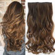 Neverland Beauty 60cm Synthetic Curly Two Tone Ombre Hairpiece Hair Extensions 3/4 Full Head Clip 6 Colours