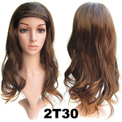 """Beauty Wig World 21"""" 55cm 210g Charm Curly 3/4 Ladies Half Wigs Synthetic Thick Full Head Hairpieces with False Headband #2T30"""