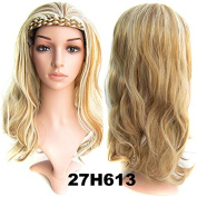 Beauty Wig World Sexy 3/4 Fall Hair Piece With Headbands Natural Long Wavy Curly Lady Half Wig Hairpiece Like Real Human Hair #27H613